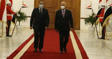 """الرئيس العراقى يؤكد لـ""""مدبولى"""" أهمية مواصلة كافة الجهود لمكافحة الإرهاب"""