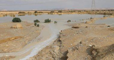موجة الأمطار والسيول تروى وديان وسط سيناء.. صور