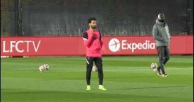 """محمد صلاح يشارك فى تدريبات ليفربول استعدادا لمواجهة أتالانتا """"فيديو وصور"""""""