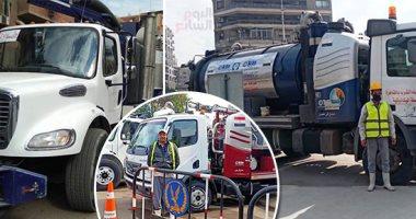انتشار معدات شفط مياه الأمطار فى الشوارع