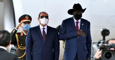 لحظة وصول الرئيس إلى جوبا