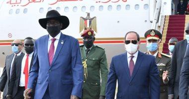الرئيس السيسى يصل جوبا.. وسلفا كير يستقبله بالمطار..صور