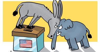 فوز الديمقراطيين بانتخابات أمريكا واستبعاد الجمهوريين فى كاريكاتير إماراتى
