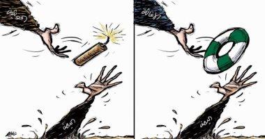 السعودية نيوز |                                              كاريكاتير سعودى يسلط الضوء على انتهاكات الحوثيين وجهود الإغاثة الإنسانية
