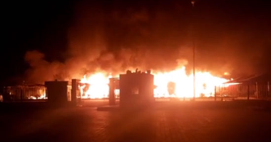 شاهد لحظة اندلاع النيران فى جهاز مدينة حدائق أكتوبر