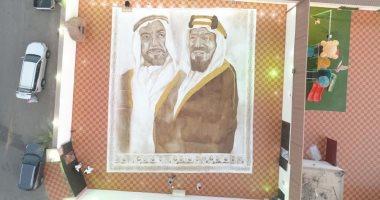 سعودية تدخل جينيس بأكبر لوحة مرسومة بالقهوة فى العالم وتهديها للإمارات.. صور