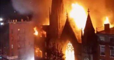 اندلاع حريق هائل بكنيسة تاريخية فى نيويورك.. فيديو