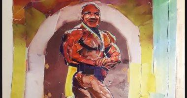 """بعد فوزه التاريخى.. شاب يبدع فى رسم لوحة لـ""""بيج رامى""""  تبرز موهبته الفنية"""