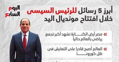 5 رسائل بارزة من الرئيس السيسى خلال افتتاح كأس العالم لليد.. إنفوجراف