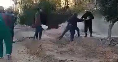 صورة كسر بماسورة غاز بمدينة 6 أكتوبر والحماية المدنية تسيطر على التسرب.. فيديو