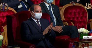 الرئيس عبد الفتاح السيسى خلال الاحتفال بعيد الشرطة