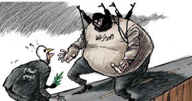 السعودية نيوز |                                              المليشات المسلحة تعارض اتمام عملية السلام بليبيا فى كاريكاتير سعودى