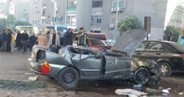 المعاينة تكشف كواليس مصرع زوجين في حادث تصادم سيارتهما بسلم خرساني في العياط