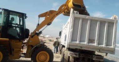 رفع أطنان من قواقع البحر على شاطئ بورسعيد.. صور
