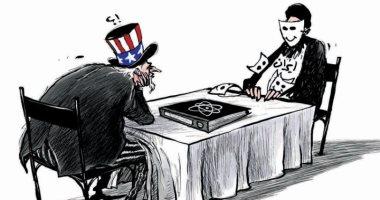 السعودية نيوز |                                              المفاوضات المحتملة بين أمريكا وإيران فى كاريكاتير صحيفة سعودية