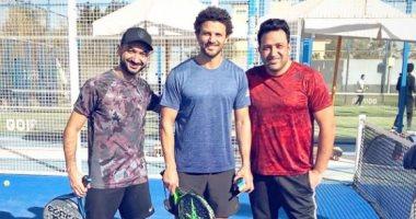 السعودية نيوز                                                مباراة تنس تجمع تامر حسين ونادر حمدى وحسام غالى