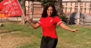 السعودية نيوز |                                              رانيا يوسف ترقص للأهلى.. والسعدنى وآسر ياسين وليلى علوى يهنئون المارد الأحمر