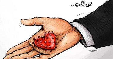 فيروس كورونا يطغى على احتفالات عيد الحب هذا العام فى كاريكاتير إماراتى