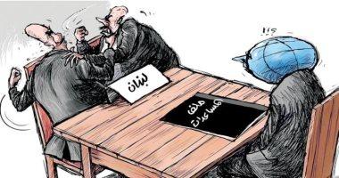 المساعدات الدولية تنتظر نهاية النزاع بين اللبنانيين بكاريكاتير سعودى