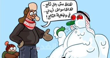 الثلوج تدخل المنازل نتيجة الطقس شديد البرودة في كاريكتير أردنى