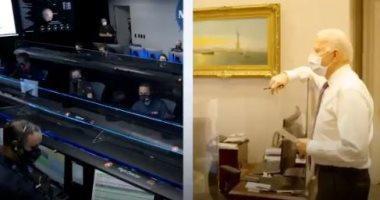 السعودية نيوز |                                              لحظة احتفال جو بايدن بهبوط مركبة ناسا على سطح المريخ.. فيديو