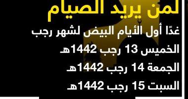 دار الإفتاء: الأيام البيض لشهر رجب تبدأ غدا وحتى السبت.. لمن يريد الصيام