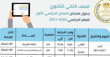 جدول امتحانات الصف الثانى الثانوى للتيرم الأول .. يبدأ غدا بالعربى والجبر