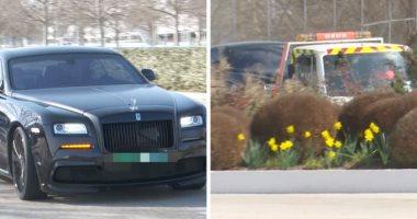 كورتوا يفقد سيارته الرولز رويس خلال تدريبات ريال مدريد.. فيديو