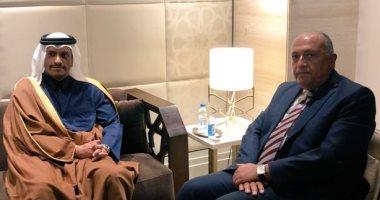 وزير الخارجية يلتقى نظيره القطرى على هامش اجتماعات الجامعة العربية