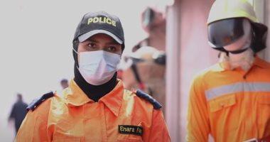 تدريبات للشرطة النسائية على إطفاء الحرائق ومواجهة النيران.. فيديو