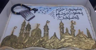 تورتة مسيحيى خزام تجمع الكنيسة والجامع فى التهنئة بافتتاح مسجد عباد الرحمن