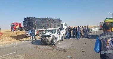 صورة إصابة 5 أشخاص فى حادث تصادم سيارة بعمود إنارة بكفر الشيخ