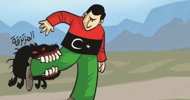 المرتزقة تنهش جسد ليبيا فى كاريكاتير إماراتى