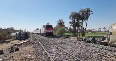 العناية الإلهية تنقذ ركاب 6 عربات قطار بعد انفصالها قبل محطة أسيوط