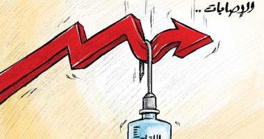 اللقاحات ساعدت فى تقليل معدل الاصابات بفيروس كورونا فى كاريكاتير كويتى