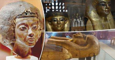 """الرحلة الذهبية.. الملكة """"تى"""" امرأة قوية من خارج القصر تودع والديها """"يويا وتويا"""" لأول مرة لتخرج فى الموكب الملكى من متحف التحرير.. تذهب لتجاور  زوجها أمنحتب الثالث فى قاعة المومياوات بالمتحف القومى للحضارة"""