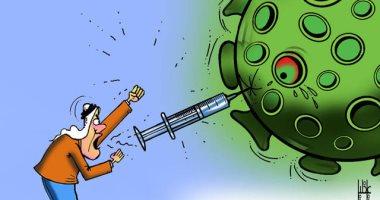كاريكاتير صحيفة إماراتية: اللقاح الحل الأمثل لإبادة فيروس كورونا