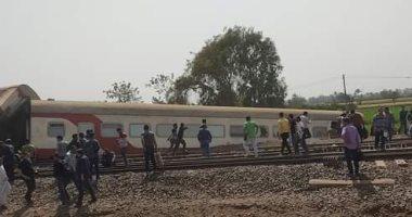 خروج قطار عن القضبان بالقرب من محطة طوخ فى القليوبية
