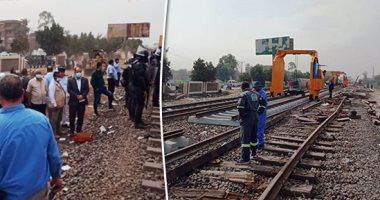 وزير النقل ومحافظ القليوبية يتابعان إحلال وتجديد خط السكة الحديد بموقع حادث قطار طوخ