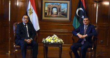 عبد الحميد الدبيبة رئيس حكومة الوحدة الوطنية الليبية ورئيس الوزراء مصطفى مدبولى