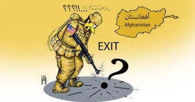 صحيفة إماراتية تسلط الضوء على انسحاب القوات الأمريكية من أفغانستان فى كاريكاتير