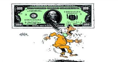 كاريكاتير عمانى.. الدولار يخنق شعوب العالم