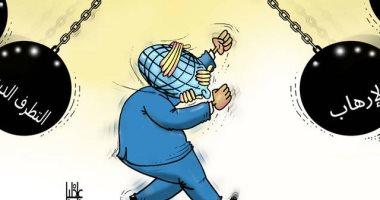 العالم بين مطرقة الإرهاب والتطرف الديني في كاريكاتير الخليج الإماراتية