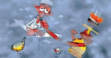 كاريكاتير صحيفة سعودية .. أحذر .. انعدام الرؤية الأفقية وانعدام الوزن بعد الإفطار