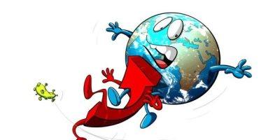 الاقتصاد العالمى ينحدر بسبب كورونا فى كاريكاتير سعودى