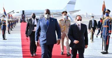 الرئيس السيسي يستقبل رئيس جمهورية الكونغو الديمقراطى بمطار القاهرة الدولى