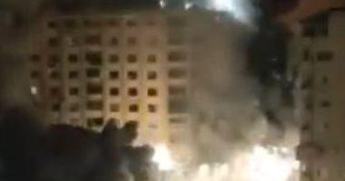 الطيران الحربى الإسرائيلى يدمر برج الجوهرة فى غزة بشكل كامل.. فيديو