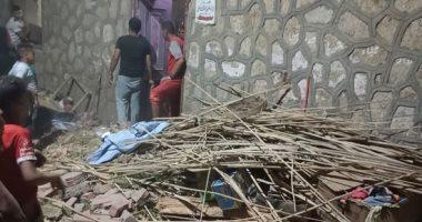 إصابة 5 في انهيار سقف منزل مكون من طابق واحد بأخميم شرقى سوهاج.. صور