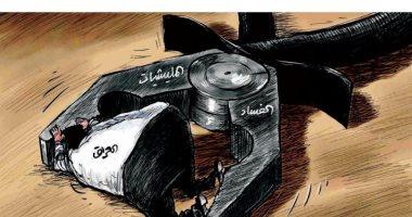 """السعودية نيوز                                                كاريكاتير صحيفة سعودية.. العراق بين """"فكى"""" الفساد والميليشيات"""