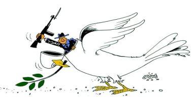 الغرب يستغل حمامة السلام للمزيد من العنف في كاريكاتير صحيفة عمانية